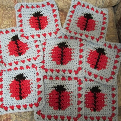 "Ladybug crochet afghan pattern from ""Afghans for all Seasons"" by Leisure Arts."