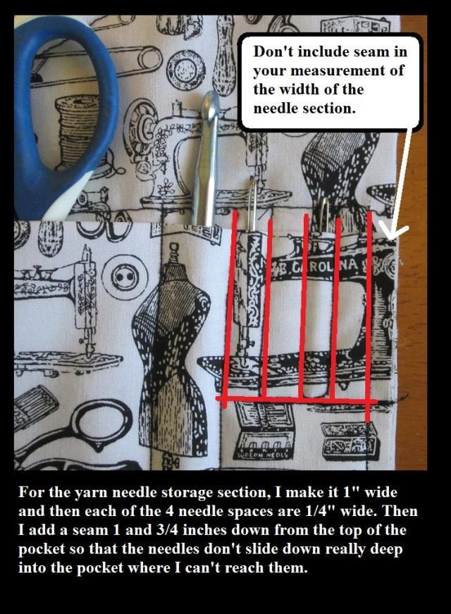 Needle section of crochet hook case