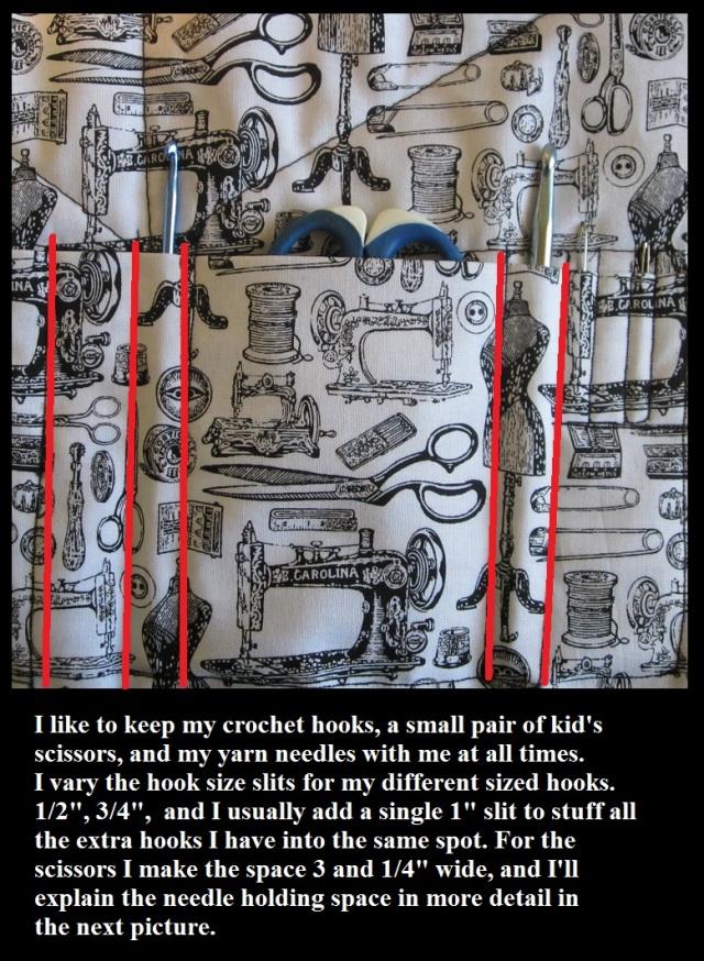 Pocket sections on crochet hook case