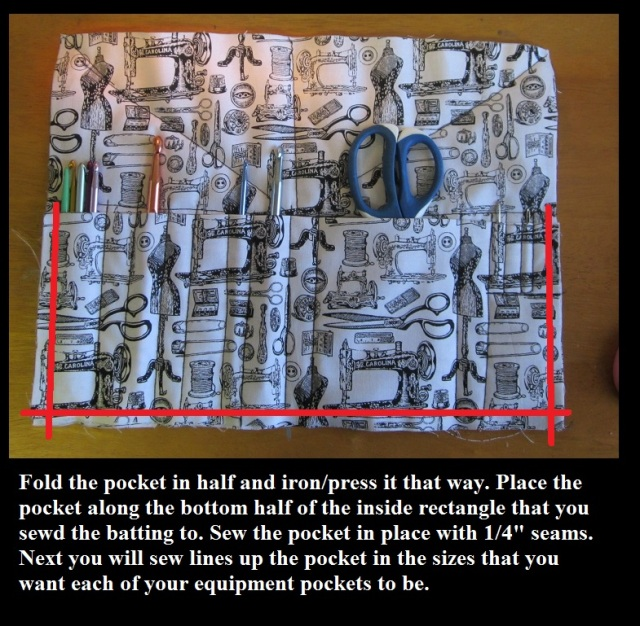 Sew pocket onto crochet hook case