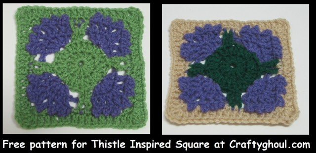 Free Pattern for Thistle Inspired Square