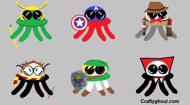 Starling's inspirational octo-buddy doodles: Loki, Capt. America, Dr. Who, Harry Pattern, Link from Zelda, and Dracula. Yes it is Dracula! What do you mean it looks more like an alien?! No!