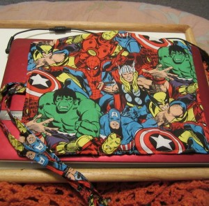 Marvel Comic Book Crochet Hook Case with link to free sewing tutorial
