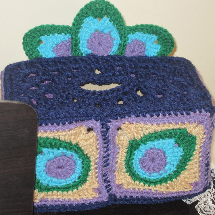 Peacock Tissue Box Cover Free Crochet Pattern Craftyghoul